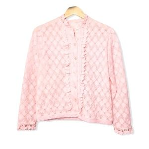 Vintage Ruffled Button Down Sweater Pink | Medium
